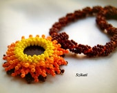 Beaded jellow orange brown necklace, fall fashion, OOAK