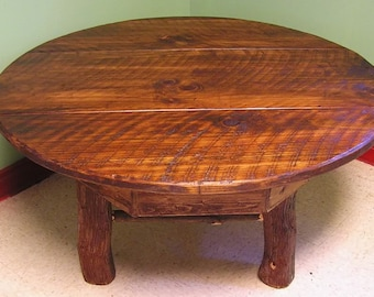 "Rustic Round Handmade Mountain Laurel and pine Coffee Cocktail Wood Table 32"" Log Cabin Furniture by J. Wade Free Shipping"