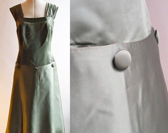 ON SALE Vintage 50s olive green satin sleeveless cocktail evening dress, ruched shoulder straps, button details on skirt, one off size 12