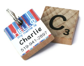 HELLO My Name Is - Pinstripe Scrabble Pet ID Tag - Dog Tag - Unique Pet Tag
