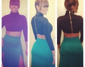 Turtle neck crop top with zipper on the back seen on Eveyln Lozada from Basketball Wives