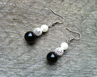 SUMMER SALE Black White Earrings Silver Glass Pearl on French Wire Hook