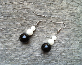 SUMMER SALE Black White Earrings Glass Pearl on Silver or Gold French Wire Hook