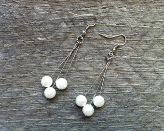 White Silver Earrings Glass Pearls on Silver or Gold French Wire Hook