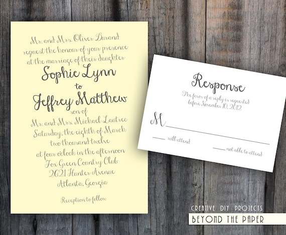 Printable Elegant and Stylish Template Wedding Invitation Set - Custom colors - DIY Wedding - Digital files