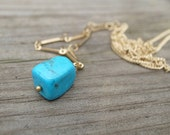 Turquoise  gem gold necklace