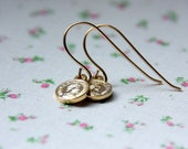 Queen Elizabeth mini coin charms on gold filled earrings delicate and elegant earrings