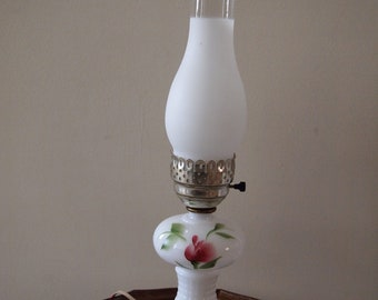 Vintage Milk Glass Lamp with Hand Painted Rose