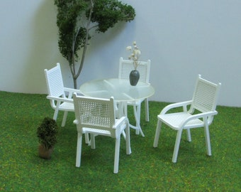 4 Seater Mesh PATIO SET,1:12 scale,DOLLHOUSE Modern Style Garden Furniture - Chairs & Table