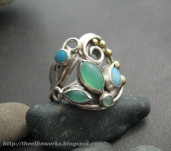 RESERVED Ring, green chrysoprase, blue opal &  turquoise, sterling silver, flowing vines leaf design, several stones, size 10 and 1/4