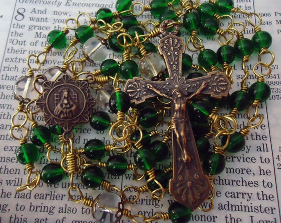 Unbreakable Thistle Flower Scottish Rosary - green glass and bronze