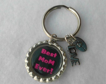Mother's Day Keychain  Best Mom Ever Bottlecap keychains Mother's Keychain
