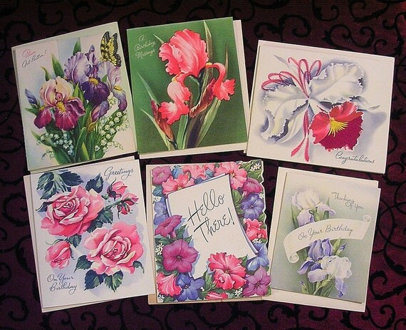 Dramatic Flowers, Pink and Purple, Floral Art, 6 UNUSED Vintage Greeting Cards, Wall Art Décor