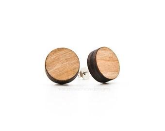 wooden circles stud earrings
