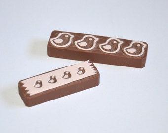 Hand Carved Rubber Stamp / handmade rubber stamp / set of 2