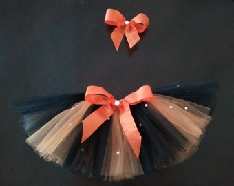 Baby Girl/ Infant Halloween Costume Tutu with Matching Hair Bow Clip