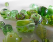 20 Mixed Glass Beads in Green