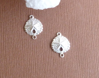 Sterling Silver Sand Dollar Connectors -- 2 Pieces -- 925 Sterling Sand Dollar Pendant Charm