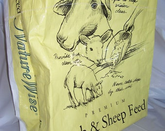 Upcycled Recycled Sheep Lamb Feed Tote Shopping Bag - Eco Friendly reusable - Limited Quanties