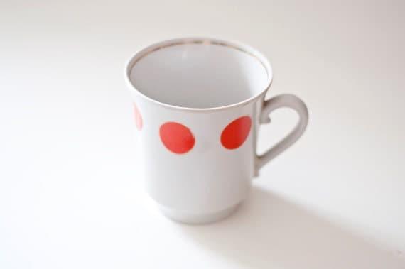 Vintage polka dot tea mug