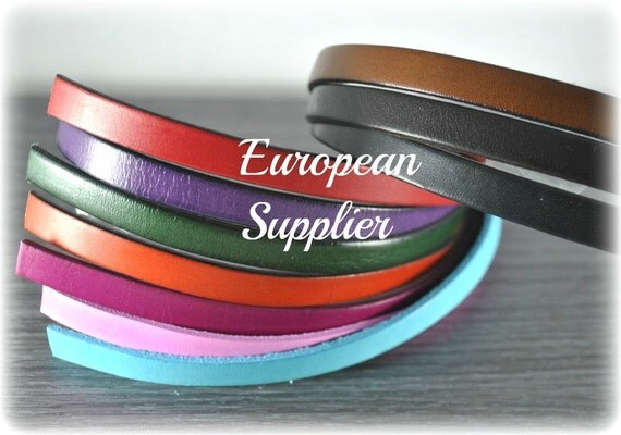 Leather Samples - 10 mm x 1.5  Flat Leather straps -  Supplies - Findings - Superior Quality -  Hand crafted - Eco - European - REG-24