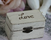 country chic ring bearer - wooden distressed box- shabby chic style