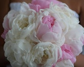 Fabric flowers bouquet- Delicate Handmade fabric flowers-  Beautiful shabby chic off white and pink peonies bridal bouquet.