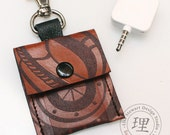 Square Credit Card Reader iPod Shuffle Case- Brown Leather Steampunk