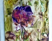 "lOriginal Encaustic Abstract purple lavender blue floral 12""x12"" StudioSabine"