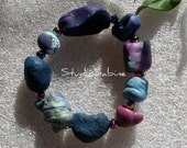 FREE SHIPPING Blue Bracelet -  not your ordinary beads - funky clunky elegant arty chic StudioSabine