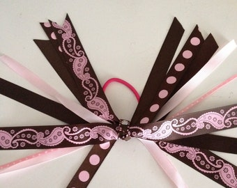 Pink And Brown Paisley and Polka Dots Pony Tail Bow