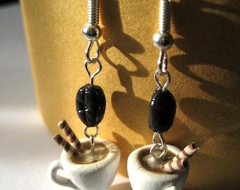 Cappuccino and coffee bean earrings