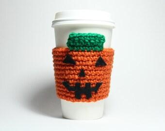 Pumpkin Coffee Cozy, Coffee Sleeve, Halloween Can Holder, Jack O Lantern Drink Cup Holder, Java Jacket