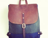 backpack navy & green waxed canvas