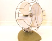 Vintage Table Fan 1950s Mid-Century Industrial Electronics / Home Decor Photography Prop Gift for Him / Olive Green White Chrome Cage