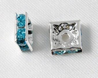 10 pcs - 8mm Rhinestone Squaredelles Silver With Aquamarine