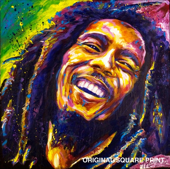 Items similar to bob marley original painting print on etsy for Bob marley mural