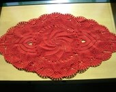 Red table coaster centerpiece placemat crochet handmade