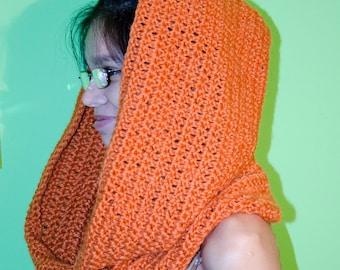 Orange cowl infinity scarf shawl wrap crochet handmade acrylic and wool