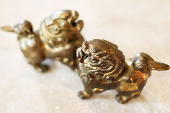 Lion Figurine - Brass Lion - Chinese Lion - Fu Dog - Foo Dog - Brass Figurine - Brass Paperweight - Brass Bookends (Mid-Century Mid Century)