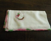 Price REDUCED  was 20 dollars Rebekah Lodge Handkerchief with Crocheted Edging