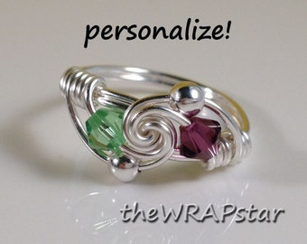 Personalized Birthstone Ring Wire Wrapped Jewelry Handmade Wire Wrapped Ring Personalized Size 5, 6, 7, 8, 9, 10, 11, 12 ITEM0301