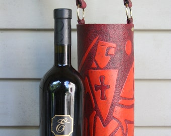 Wine Quiver / Wine Tote Tooled Leather in Wine and Tan - CROISÉ