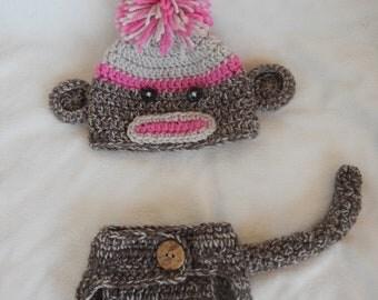 Crochet Sock Monkey Hat & Diaper Cover Set Handmade Pink Photo Prop