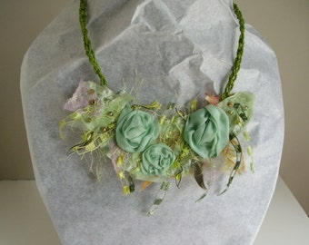 Mori Girl fabric necklace in light greens