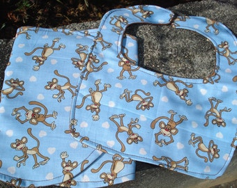 CLEARANCE Monkeys Gift Set: Bib and Burp Cloth, Baby Boys, Blue and Brown.