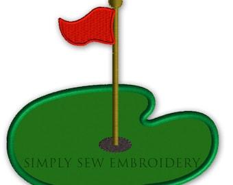 Golf Hole and Flag Applique -- Boy or Girl Embroidery Design Machine Applique No. 035