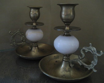 Brass and Marble Candleholders
