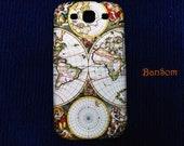 Samsung Galaxy S3: World Map Vintage - Galaxy Case , Galaxy Cover -  Galaxy S3 Case ,Decoupage,Sumsung Galaxy S3 case by BanSom