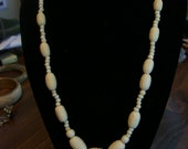 Vintage Deco Carved Faux Ivory Ox Bone Necklace Needs a Good Home